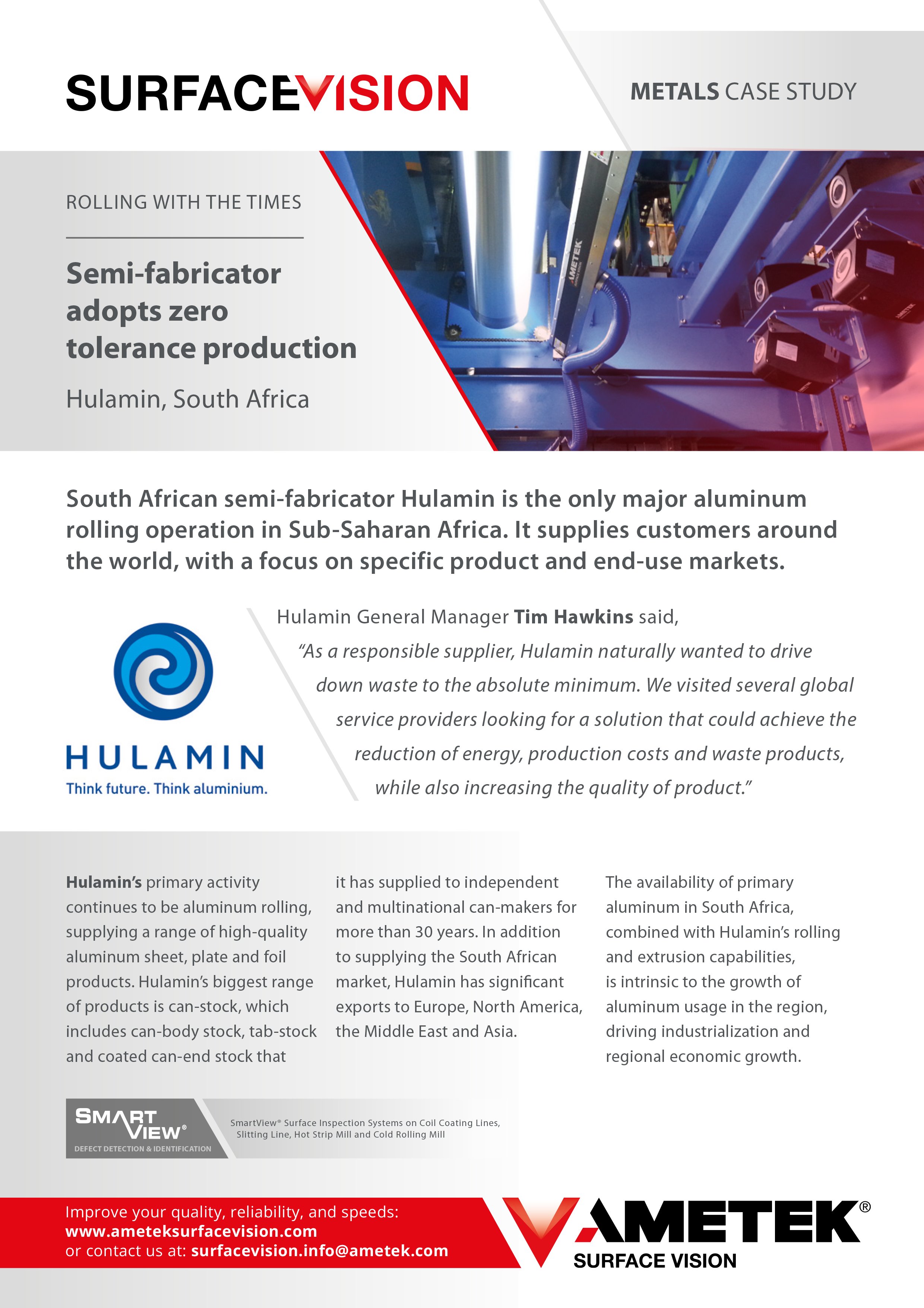 Semi-fabricator adopts zero tolerance production at Hulamin, South Africa
