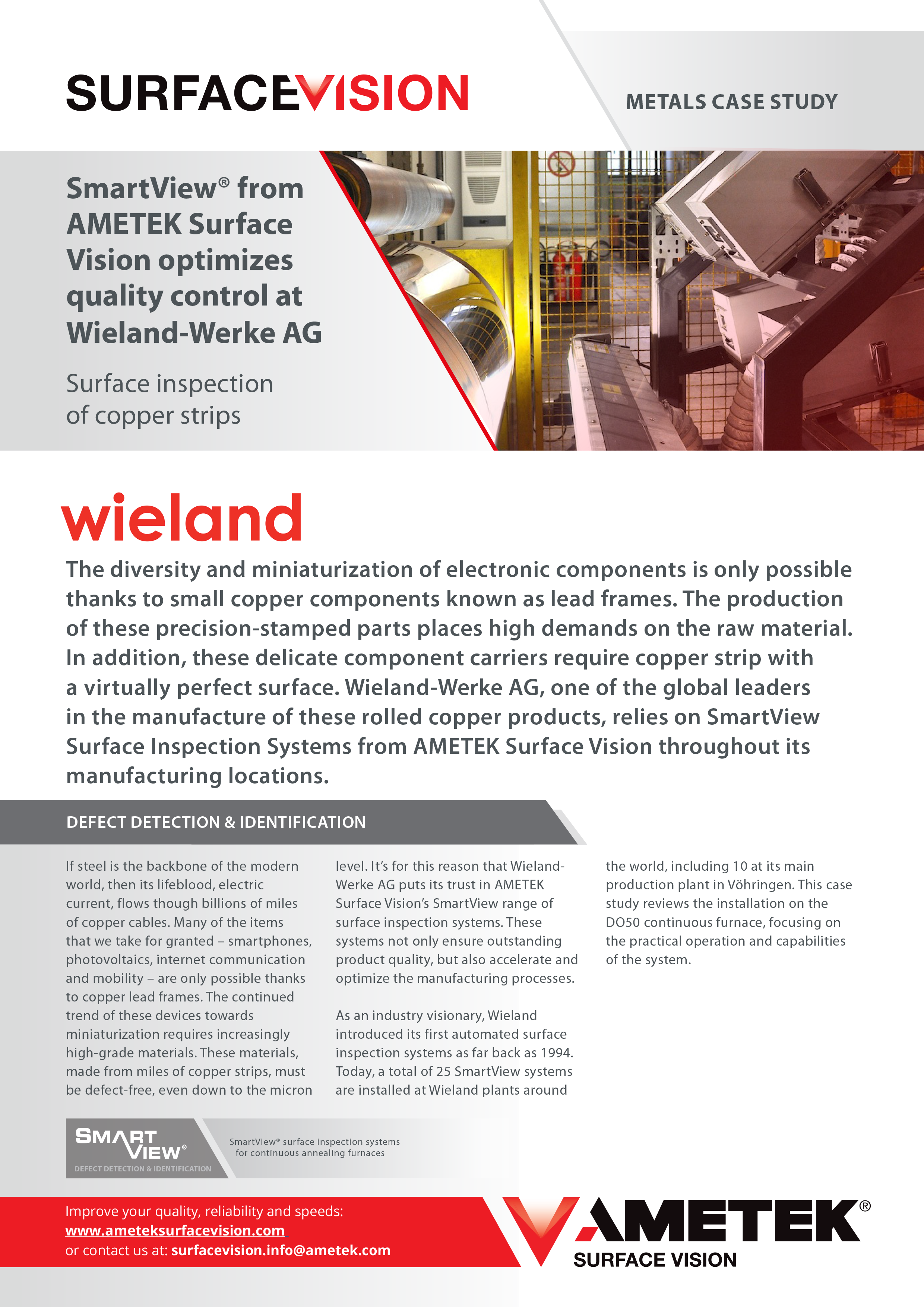 SmartView® optimizes quality control at Wieland-Werke AG with surface inspection of copper strips.